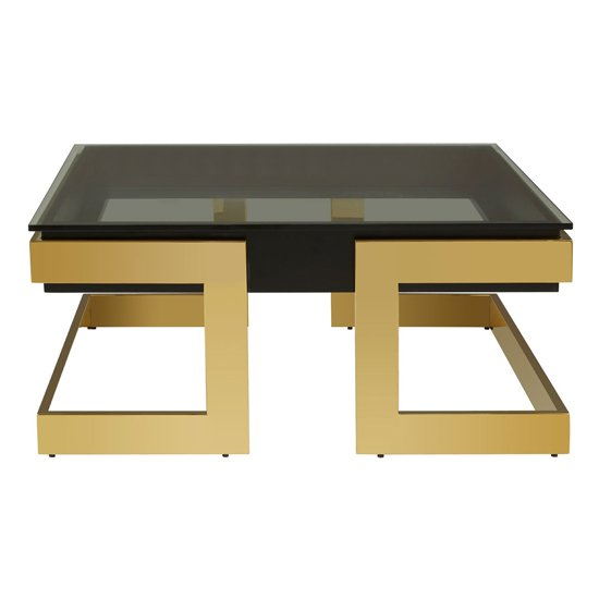 Bibha Black Glass Coffee Table With Gold Base