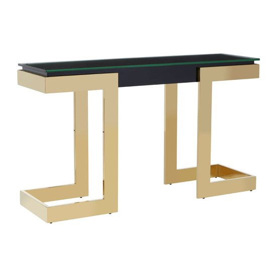 Bibha Glass Console Table With Gold Base