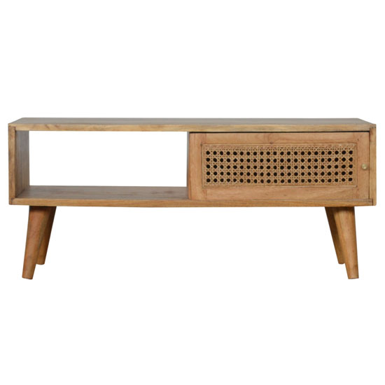 Debby Wooden Coffee Table In Oak Ish Rattan Design_2