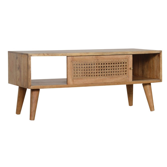 Debby Wooden Coffee Table In Oak Ish Rattan Design_3