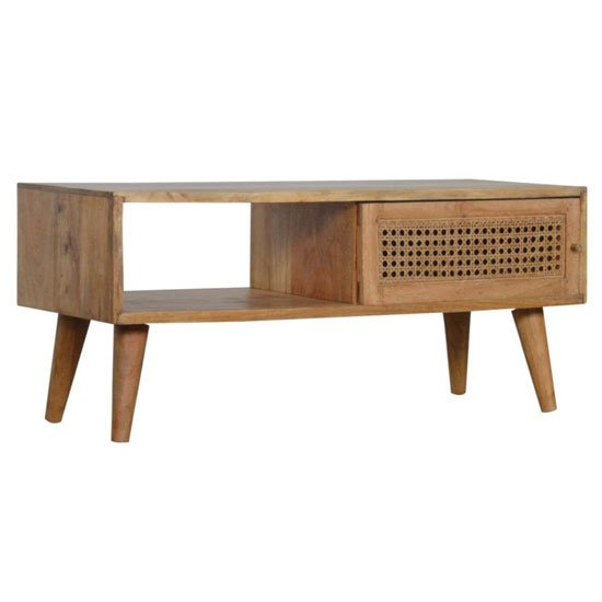 Debby Wooden Coffee Table In Oak Ish Rattan Design_1