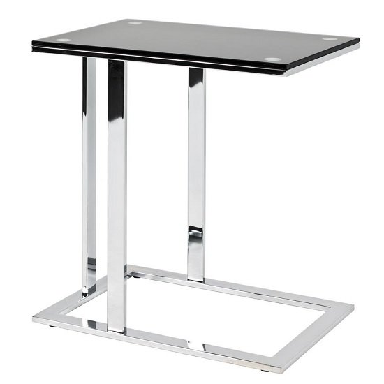 Declan Glass Side Table In Black With Chrome Base