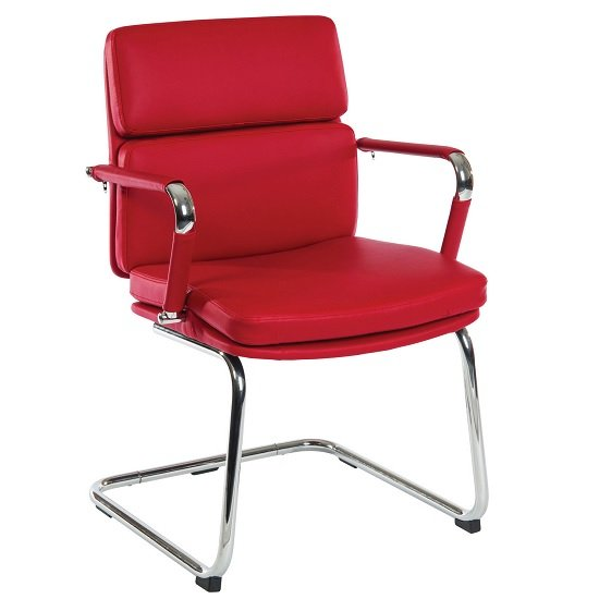 Deco Visitor Retro Eames Style Chair In Red PU