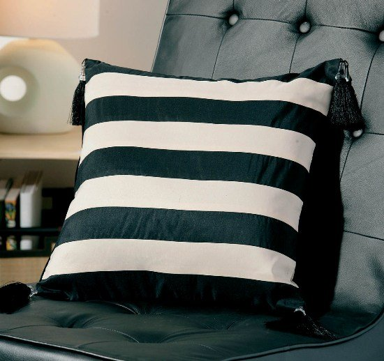 Image of Ivory and Black Stripes With Tassels