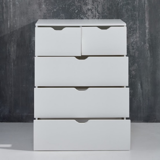 Delany Wooden Chest Of Drawers In White With 5 Drawers_2
