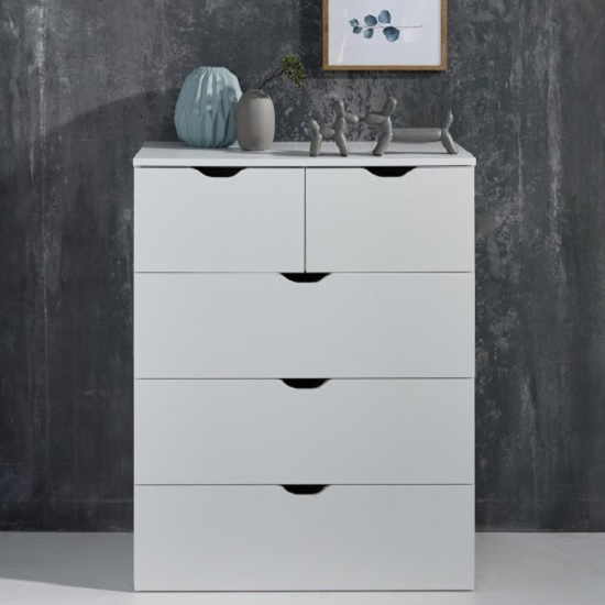 Delany Wooden Chest Of Drawers In White With 5 Drawers_3