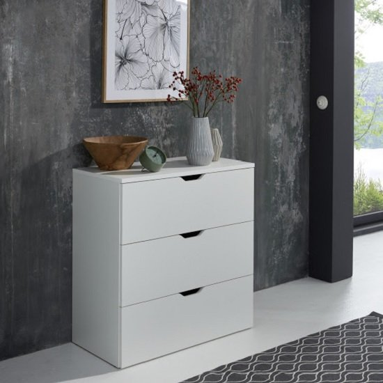 Delany Wooden Chest Of Drawers Wide In White With 3 Drawers