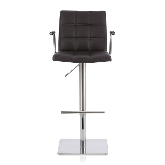 Deloris Bar Stool In Brown Faux Leather And Stainless Steel Base