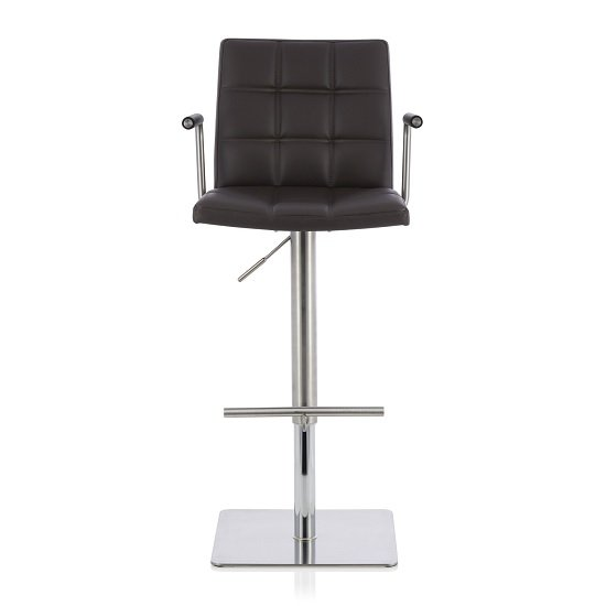 Phenomenal Deloris Bar Stool In Brown Faux Leather And Stainless Steel Base Theyellowbook Wood Chair Design Ideas Theyellowbookinfo