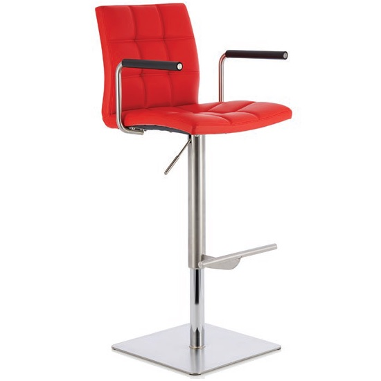Deloris Bar Stool In Red Faux Leather And Stainless Steel Base