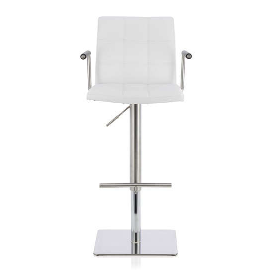 Deloris Bar Stool In White Faux Leather And Stainless Steel Base