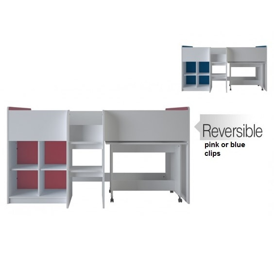 Delphi Mid Sleeper Bed In Pearl White With Desk_4