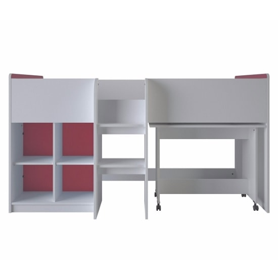 Delphi Mid Sleeper Bed In Pearl White With Desk_3