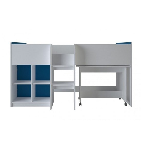 Delphi Mid Sleeper Bed In Pearl White With Desk_2