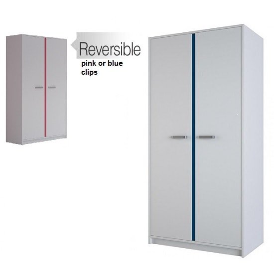Image of Delphi Wooden Wardrobe In Pearl White With 2 Doors