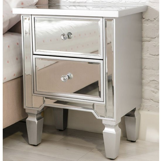 Delphine Wooden Mirrored Bedside Cabinet In Silver