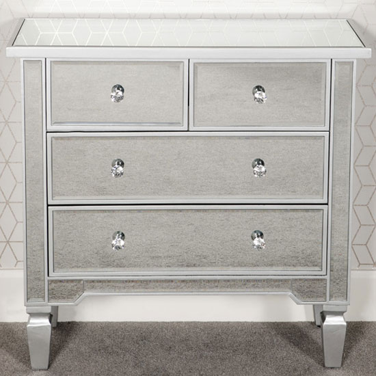 Delphine Wooden Mirrored Chest Of Drawers In Silver 4 Drawers
