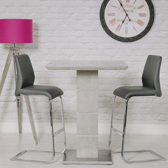 Delta Marble Effect Bar Table With 2 Grey Seattle Stools