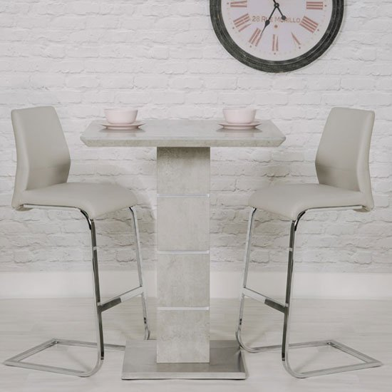 Delta Marble Effect Bar Table With 2 Taupe Seattle Stools