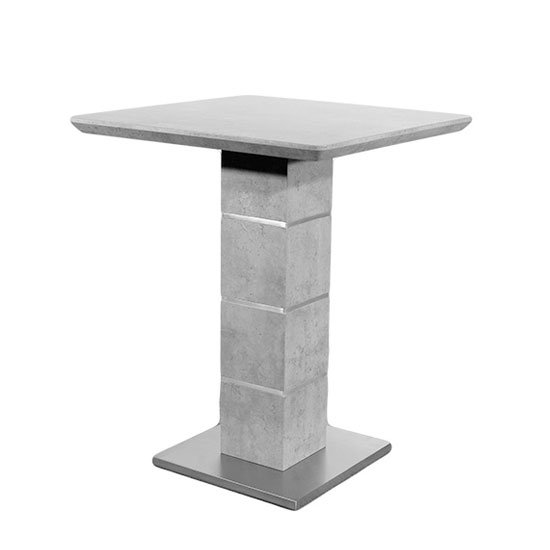 Delta Marble Effect Bar Table With Brushed Steel Base