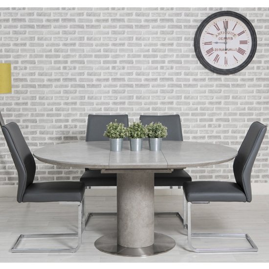 Delta Round Extending Dining Set With 4, Round Extendable Dining Table Set Grey