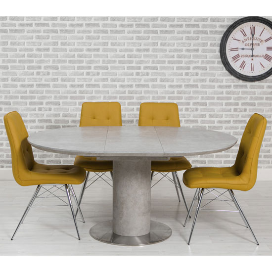 Delta Round Extending Dining Set With 4 Ochre Tampa Chairs