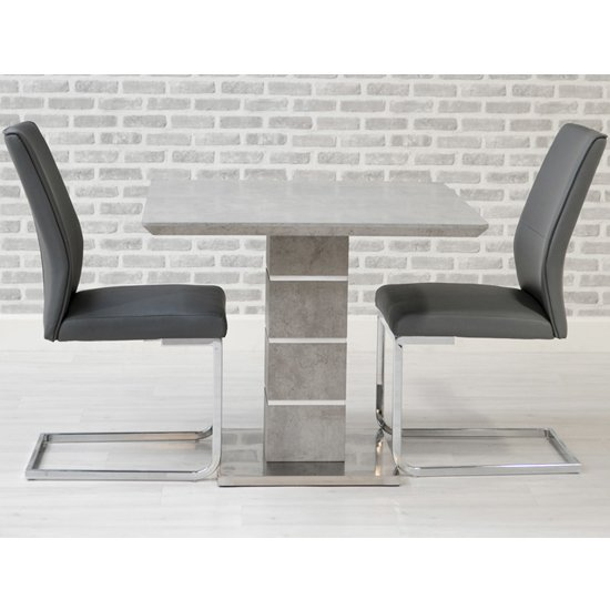 Delta Square Dining Set With 2 Grey Seattle Chairs