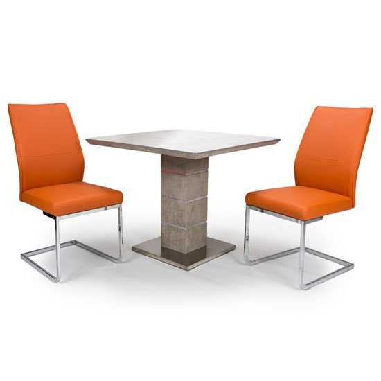 Delta Square Dining Set With 2 Orange Seattle Chairs