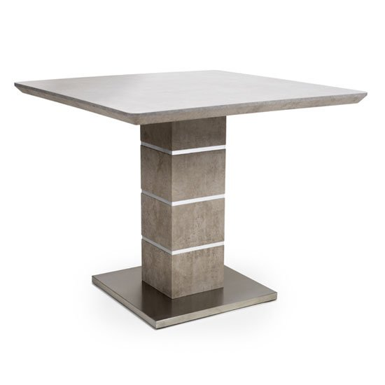 Delta Square Dining Table With Brushed Steel Base