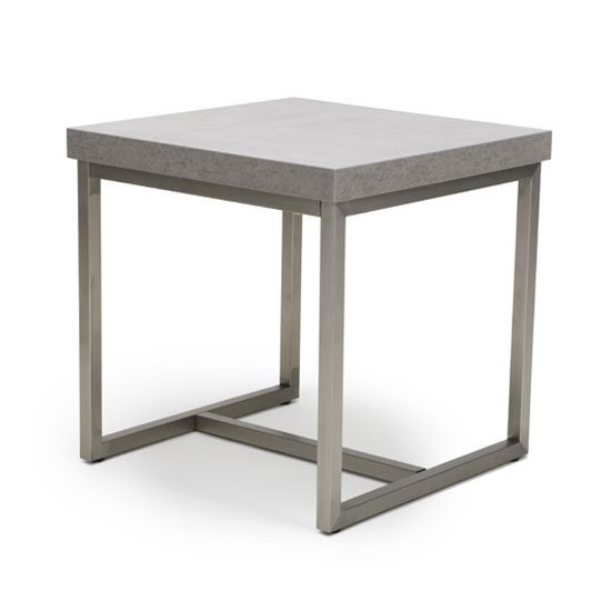 Delta Square End Table With Brushed Steel Base