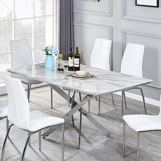 Deltino Grey Marble Effect Dining Table With Chrome Legs_2