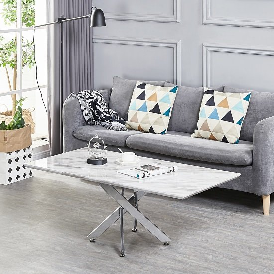 Deltino Grey Marble Effect Coffee Table With Chrome Legs_1