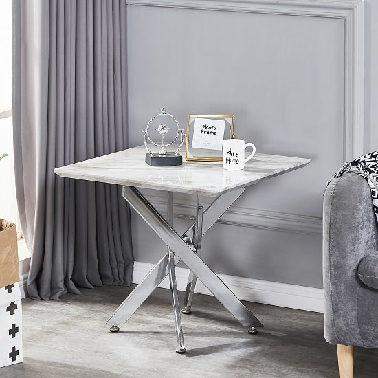 Deltino Grey Marble Effect Lamp Table With Chrome Legs