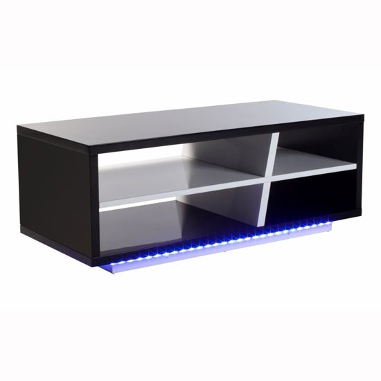 Deltino Coffee Table In White And Black High Gloss With Led