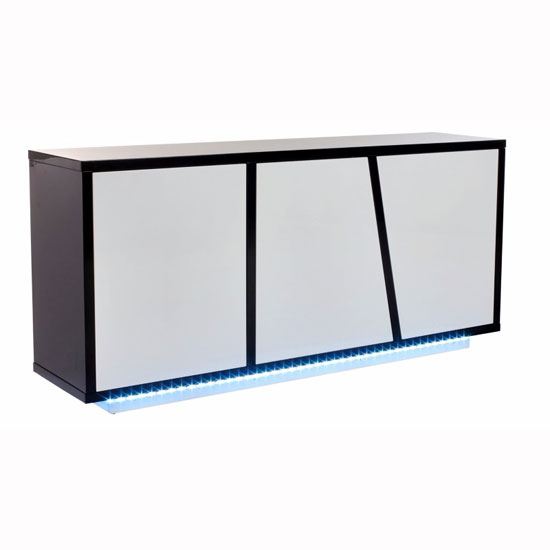 Deltino Sideboard In White And Black High Gloss With LED