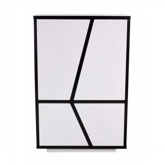Deltino Storage Cabinet In White And Black Gloss With LED_3