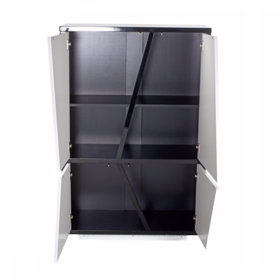 Deltino Storage Cabinet In White And Black Gloss With LED_2