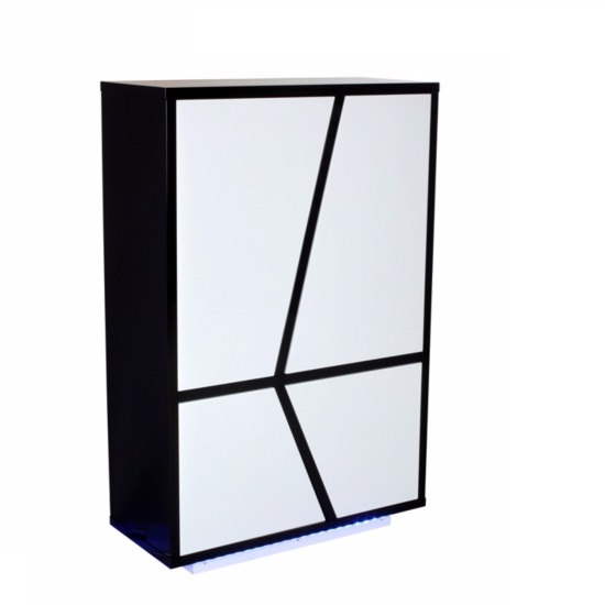 Deltino Storage Cabinet In White And Black Gloss With LED