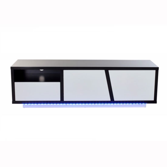 Deltino TV Stand In White And Black High Gloss With LED_2