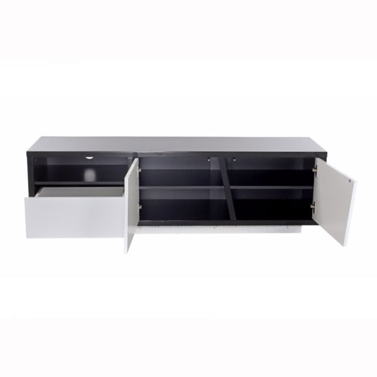 Deltino TV Stand In White And Black High Gloss With LED_3