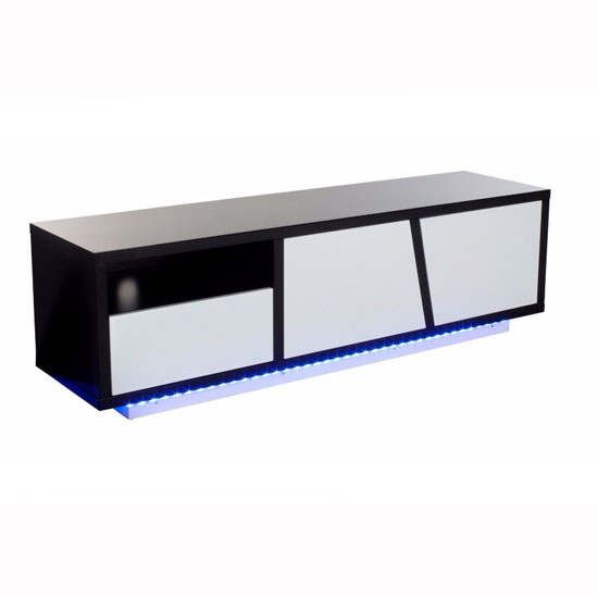 Deltino TV Stand In White And Black High Gloss With LED_1
