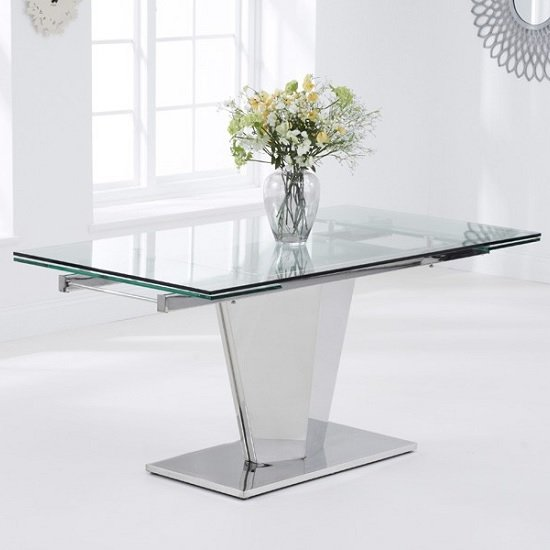 Deluca Glass Dining Table In Clear With Stainless Steel Base_4