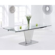 Deluca Glass Dining Table In Clear With Stainless Steel Base_1