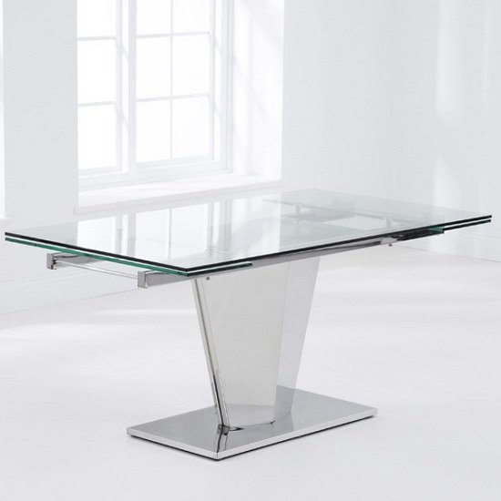 Deluca Glass Dining Table In Clear With Stainless Steel Base_5