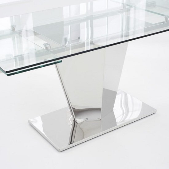 Deluca Glass Dining Table In Clear With Stainless Steel Base_6