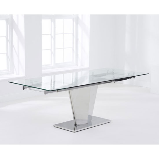 Deluca Glass Dining Table In Clear With Stainless Steel Base_2