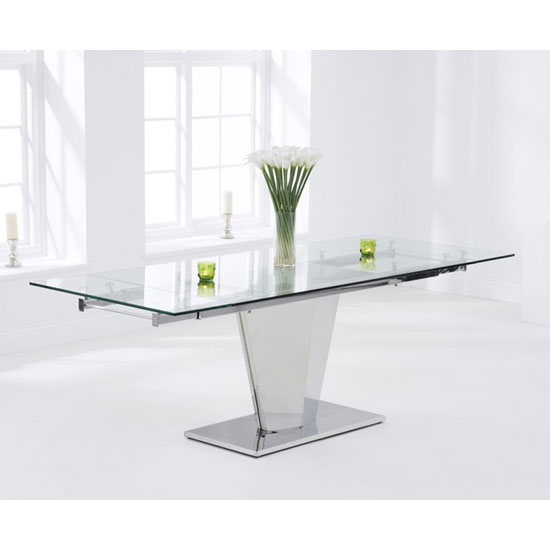 Deluca Glass Dining Table In Clear With Stainless Steel Base_3
