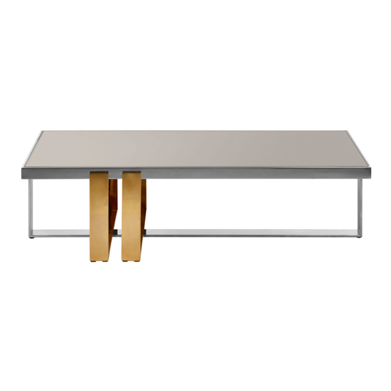 View Cervantes glass coffee table with golden legs