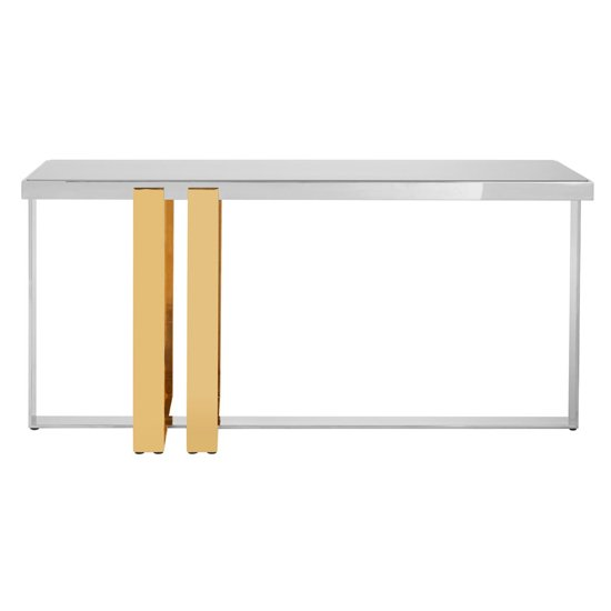 Product photograph showing Cervantes Glass Console Table With Gold And Silver Base