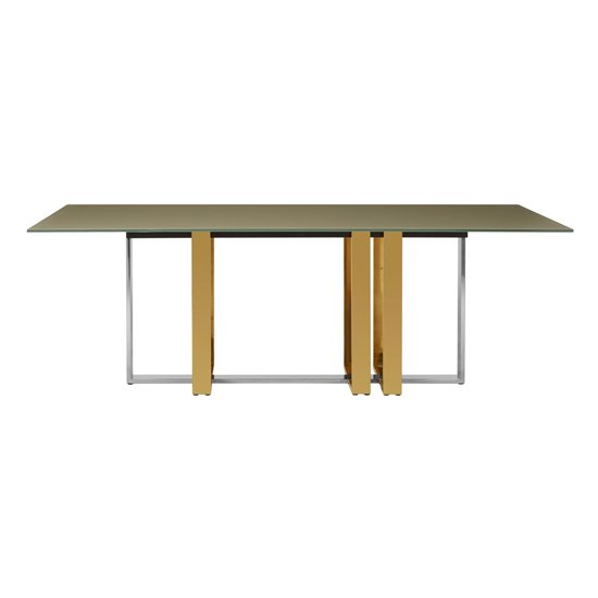 Cervantes Glass Dining Table With Gold And Silver Base